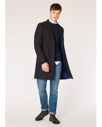 Paul Smith Dark Navy Wool And Cashmere-blend Overcoat