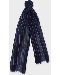 Paul Smith - Navy Stitch-stripe Linen Scarf - Lyst