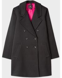 Paul Smith - Black Textured Stripe Cotton-Blend Cocoon Coat - Lyst
