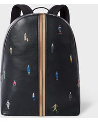 Paul Smith - Navy Leather 'People' Motif Backpack - Lyst