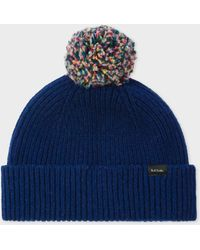 f526f9731dd Paul Smith - Navy Pom-pom Wool Beanie Hat - Lyst