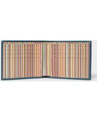 Paul Smith - Teal Signature Stripe Interior Billfold Wallet - Lyst