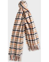 Paul Smith - Cream and Grey Check Lambswool And Cashmere Scarf - Lyst
