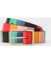 Paul Smith - 'Artist Stripe' Print Leather Belt - Lyst