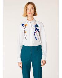 Paul Smith - White Cotton Shirt With Ribbon Appliqué - Lyst