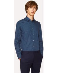 Paul Smith - Tailored-Fit Navy 'Heart' Motif Cotton Shirt With 'Artist Stripe' Cuff Lining - Lyst