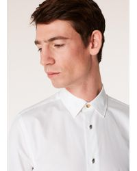 Paul Smith - Super Slim-fit White Shirt With 'artist Stripe' Cuffs And Pig Charm Button Placket - Lyst