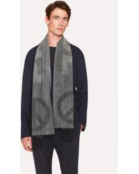 Paul Smith - Dark Grey and Black Cashmere 'Peace' Scarf - Lyst
