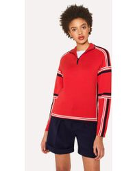 Paul Smith - Red Knitted Cotton Half-Zip Jumper With Contrasting Stripes - Lyst