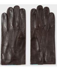 Paul Smith | Men's Chocolate Brown Leather 'artist Stripe' Trim Gloves | Lyst