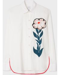 Paul Smith - White 'Floral Stem' Print Cotton Shirt - Lyst