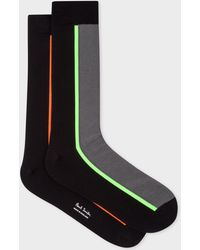 Paul Smith - Vertical Stripe Black And Grey Socks - Lyst