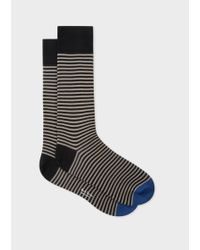 Paul Smith - Taupe And Black Thin Stripe Socks - Lyst