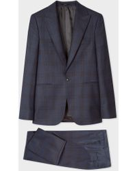 Paul Smith - The Soho - Tailored-Fit Navy And Burgundy Check Wool Suit - Lyst