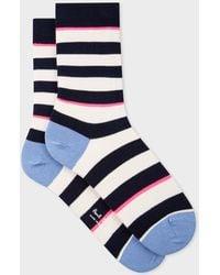 Paul Smith - Navy And Ecru Stripe Socks - Lyst
