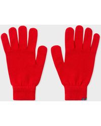 Paul Smith - Red Lambswool Gloves - Lyst