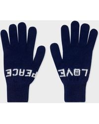 Paul Smith - Navy 'Peace & Love' Wool Gloves - Lyst