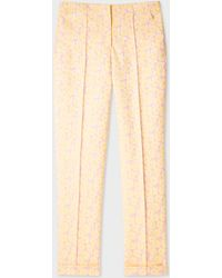 Paul Smith - Yellow And Pink Floral Jacquard Stretch-Cotton Trousers - Lyst