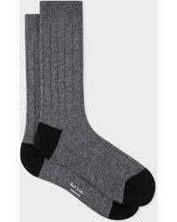 Paul Smith - Grey Wool-Cashmere Socks With Black Details - Lyst
