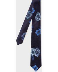 Paul Smith - Navy 'Rose' Jacquard Narrow Silk Tie - Lyst