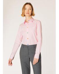 Paul Smith - Slim-Fit Light Pink Cotton Shirt With 'Swirl' Print Cuff Lining - Lyst