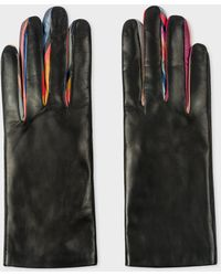 Paul Smith - Black 'Concertina Swirl' Leather Gloves - Lyst