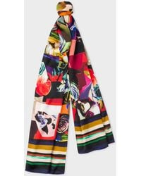 Paul Smith - Black 'Rose Collage' Print Silk Scarf - Lyst