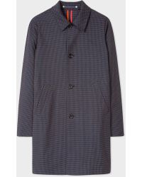 Paul Smith - Navy Houndstooth Cotton-Blend Unlined Mac - Lyst