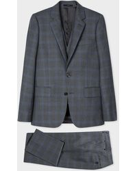 Paul Smith - The Soho - Tailored-Fit Charcoal And Blue Windowpane Check Three-Piece Suit - Lyst