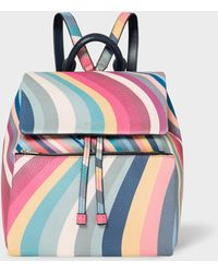 91a8fc029a Paul Smith - 'spring Swirl' Print Leather Backpack - Lyst