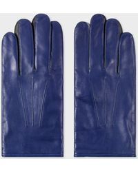 Paul Smith - Cobalt Blue Leather Concertina Gloves - Lyst