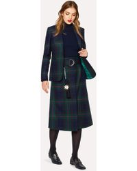 Paul Smith - Navy, Green And Red Tartan A-Line Midi Skirt With Belt - Lyst