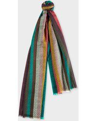 Paul Smith - 'Artist Stripe' Herringbone Lambswool Scarf - Lyst