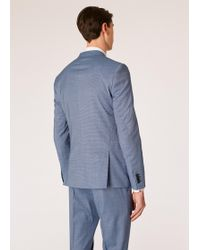 Paul Smith - Slim-fit Blue Houndstooth Motif Wool Blazer - Lyst