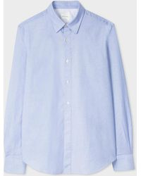 Paul Smith - Tailored-Fit Sky Blue Cotton 'Artist Stripe' Cuff Oxford Shirt - Lyst