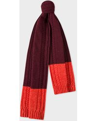 Paul Smith - Burgundy Cable-Knit Scarf With Contrasting Ends - Lyst