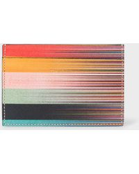97e9883f12a1 Paul Smith Teal Credit Card Holder With Signature Stripe Trim in Blue for  Men - Lyst