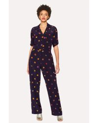 Paul Smith | Women's Navy 'Kyoto Floral' Silk Jumpsuit | Lyst