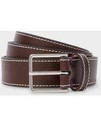 Paul Smith - Chocolate Brown Leather 'Geometric Mini' Belt - Lyst