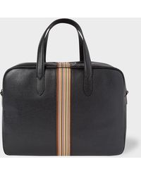 Paul Smith - Black Leather Signature Stripe Weekend Bag - Lyst