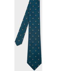 Paul Smith - Petrol Embroidered Rabbit Motif Silk Tie - Lyst