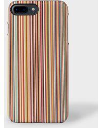 Paul Smith - 'signature Stripe' Leather Iphone 7/8 Plus Case - Lyst