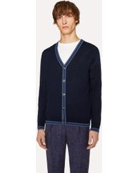 Paul Smith - Navy Merino Wool Cardigan With Contrast Trims - Lyst