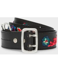 Paul Smith - Black Embroidered 'Ocean' Pattern Leather Belt - Lyst