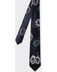 Paul Smith - Black 'Rose' Jacquard Narrow Silk Tie - Lyst
