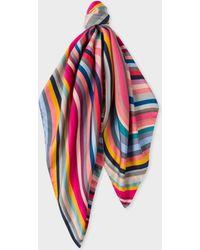 Paul Smith - Multi-Colour 'Swirl' Silk Square Scarf - Lyst