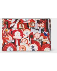 Paul Smith - & Manchester United – 'Vintage Rosette' Print Leather Credit Card Holder - Lyst