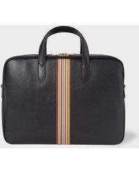 Paul Smith - Porte-Documents 'Signature Stripe' Noir En Cuir - Lyst