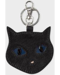 Paul Smith - Black 'Cat Face' Calf Hair Keyring - Lyst
