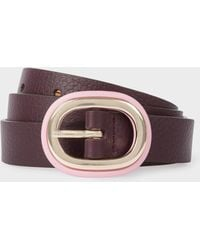 Paul Smith - Burgundy Leather Belt With Pink Buckle - Lyst